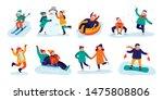 winter kids activities. snow... | Shutterstock .eps vector #1475808806