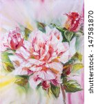 beautiful rose  oil painting on ... | Shutterstock . vector #147581870