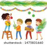kids building a booth for... | Shutterstock .eps vector #1475831660
