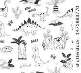 vector cute dinosaur world... | Shutterstock .eps vector #1475883770