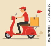 delivery man riding motorcycle  ...   Shutterstock .eps vector #1476018380