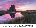 Whitby Abbey Ruins At Sunset