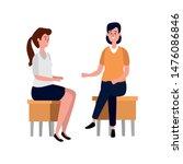 elegant businesswomen seated in ... | Shutterstock .eps vector #1476086846