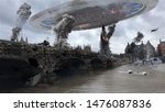 Alien Spaceship Invasion Over Destroyed London City Illustrattion - stock photo