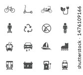 eco transport vector icons set...