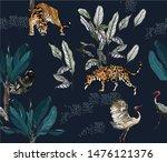 seamless pattern tropical...   Shutterstock .eps vector #1476121376