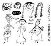 cute girls in vector. cartoon... | Shutterstock .eps vector #147619070