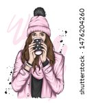 beautiful girl in a hat with a... | Shutterstock .eps vector #1476204260