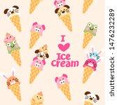 cute ice cream cone with kawai...   Shutterstock .eps vector #1476232289