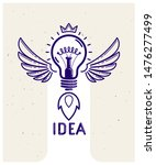 idea light bulb with wings... | Shutterstock .eps vector #1476277499