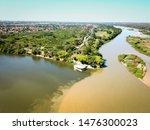 aerial view of the meeting between the parnaiba and poti rivers in teresina piaui