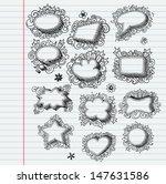 set of festive doodle bubbles ... | Shutterstock .eps vector #147631586