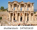 EPHESUS ,TURKEY - MAY 3; The famous facade from the library of Efese on may 3 2013. Ephesus is captured and plundered by the Mongols in the 4th century  - stock photo