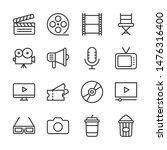 cinema line icons set vector... | Shutterstock .eps vector #1476316400