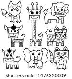 hand drawn wild animal set... | Shutterstock . vector #1476320009