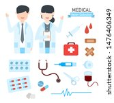 female and male doctor...   Shutterstock .eps vector #1476406349
