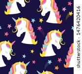 seamless pattern with unicorns... | Shutterstock .eps vector #1476420416