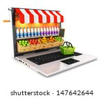 3d supermarket laptop  isolated ... | Shutterstock . vector #147642644