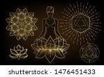 woman ornate silhouette sitting ... | Shutterstock .eps vector #1476451433