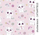seamless pattern with cute cat... | Shutterstock .eps vector #1476497813