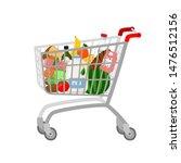 grocery shopping cart on white. ... | Shutterstock .eps vector #1476512156