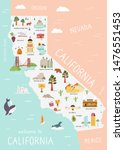 illustrated map of california... | Shutterstock .eps vector #1476551453
