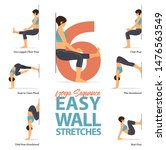 infographic of 6 yoga poses for ...   Shutterstock .eps vector #1476563549