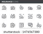 insurance vector line icons set.... | Shutterstock .eps vector #1476567380