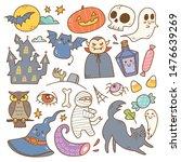 set of cute halloween doodles  | Shutterstock .eps vector #1476639269
