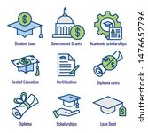 student loans icon set with...