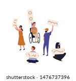 bundle of protesters holding... | Shutterstock .eps vector #1476737396