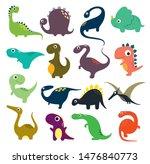 set of funny cartoon dinosaurs... | Shutterstock .eps vector #1476840773