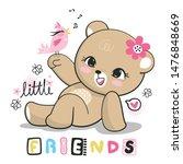 cute teddy bear girl holding... | Shutterstock .eps vector #1476848669