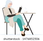senior woman in cafe vector... | Shutterstock .eps vector #1476852506