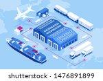 isometric global logistics... | Shutterstock .eps vector #1476891899