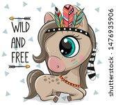 cute cartoon horse with... | Shutterstock .eps vector #1476935906