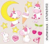 set of cute unicorns in kawaii... | Shutterstock .eps vector #1476965453