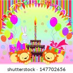 the first birthday of the baby | Shutterstock .eps vector #147702656