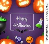 happy halloween lettering with... | Shutterstock .eps vector #1477034753