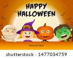 happy halloween lettering  kids ... | Shutterstock .eps vector #1477034759
