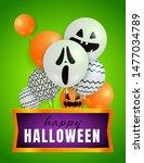 happy halloween lettering with... | Shutterstock .eps vector #1477034789