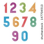 retro style geometric numbers... | Shutterstock .eps vector #147704513