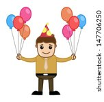 man holding balloons   cartoon... | Shutterstock .eps vector #147706250