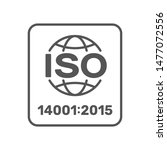 ISO 14001:2015 certified symbol. ISO 14001 2015 certified quality management sign. Editable Stroke. EPS 10
