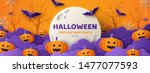 Stock vector happy halloween banner or party invitation background with violet fog clouds and pumpkins in paper 1477077593