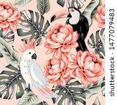 Toucans  Parrots  Rose Flowers  ...