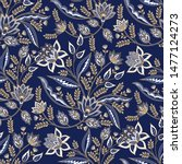indian floral paisley pattern... | Shutterstock .eps vector #1477124273