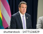 Small photo of New York, NY May 31, 2019 - NYS Governor Andrew Cuomo speaking at press conference today about LGBTQ laws that need changing. 633 Third Ave, NYC. David McGlynn 5/31/19
