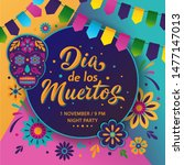 dia de los muertos poster... | Shutterstock .eps vector #1477147013