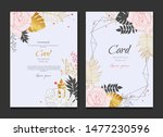 white gold pink floral wedding...   Shutterstock .eps vector #1477230596